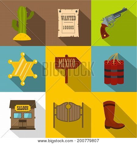 Wild west icons set. Flat set of 9 wild west vector icons for web with long shadow