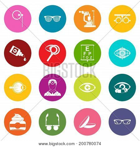 Ophthalmologist tools icons many colors set isolated on white for digital marketing