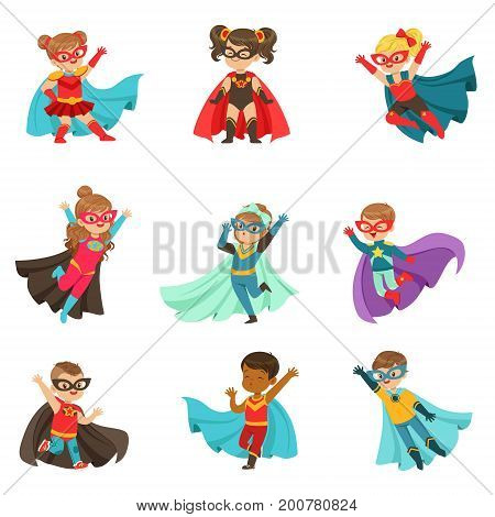 Super kids set, boys and girls in superhero costumes colorful vector Illustrations on a white background