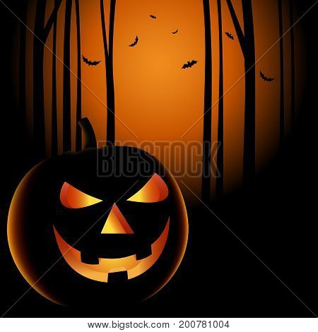 Halloween night with grinning pumpkin background vector eps 10