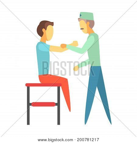 Doctor examining injured arm of young man sitting on a couch. Medical care concept. Colorful cartoon characters isolated on a white background