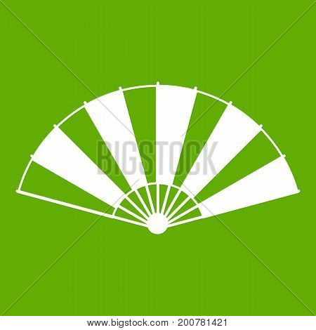 Chinese fan icon white isolated on green background. Vector illustration