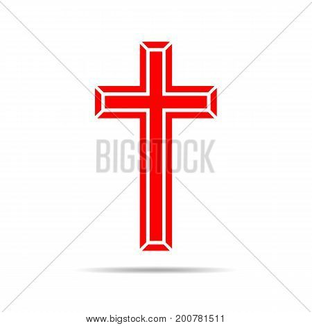 Red Christian cross icon. Simple Christian cross on white background. Vector illustration.