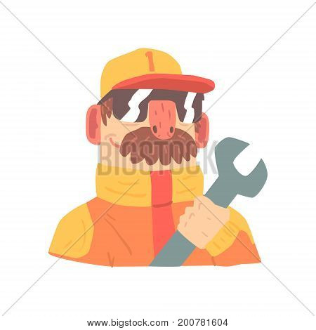 Pit stop technician worker in an orange uniform with wrench, member of racing team vector Illustration isolated on a white background