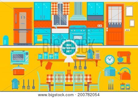Retro kitchen interior with furniture, utensils, food and devices. Including fridge, oven, microwave, kettle, pot Vector illustration