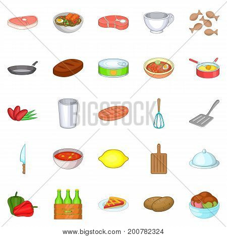 Romantic dinner icons set. Cartoon set of 25 romantic dinner vector icons for web isolated on white background