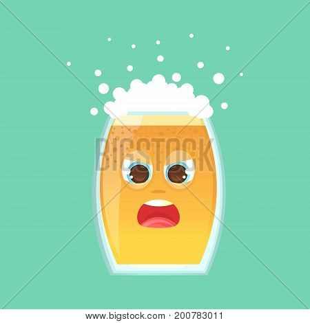 Character glass with beer foam and bubbles. Emotional icon. His eyes squinted screaming in a frenzy not in himself. Oktoberfest. Stickers for messenger and other communications.