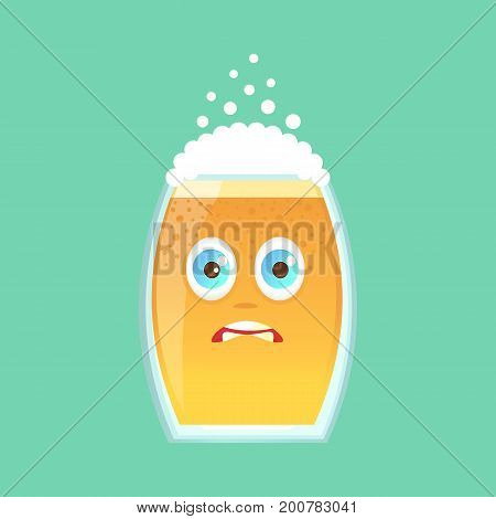Character glass with beer foam and bubbles. Emotional icon. He is frightened with big eyes and small pupils in horror. Oktoberfest. Stickers for messenger and other communications. Cartoon style.