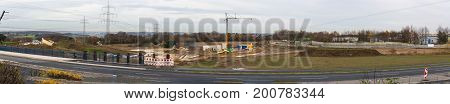VELBERT NRW GERMANY - NOVEMBER 23 2016: Motorway A 44 to Dusseldorf. View of a construction site area.