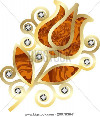Golden brooch with diamonds and amber ornate in floral style. Object isolated on white background vector illustration