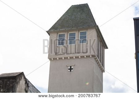 BAD HONNEF GERMANY - MARCH 27 2016: Tower on the former campus of the business school St Anno school brothers in Bad Honnef in Germany on the Rhine.