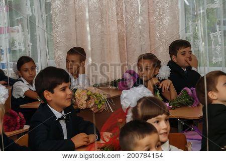 Ukraine.kiev - September 1, 2016. First-graders Sit In Their Cla