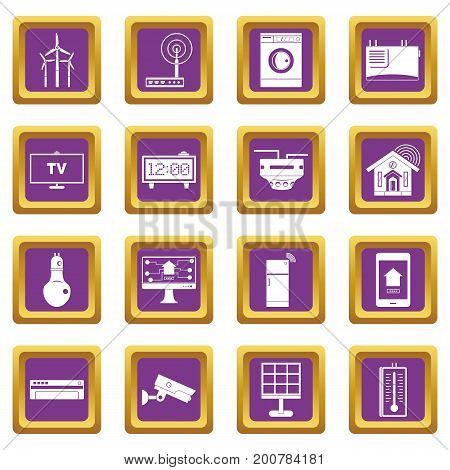 Smart home house icons set in purple color isolated vector illustration for web and any design