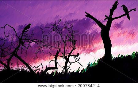 Halloween autumn landscape with bare trees and birds. Dramatic sky with purple and pink clouds with silhouettes of trees