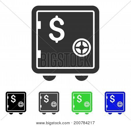 Banking Safe flat vector illustration. Colored banking safe, gray, black, blue, green pictogram versions. Flat icon style for web design.