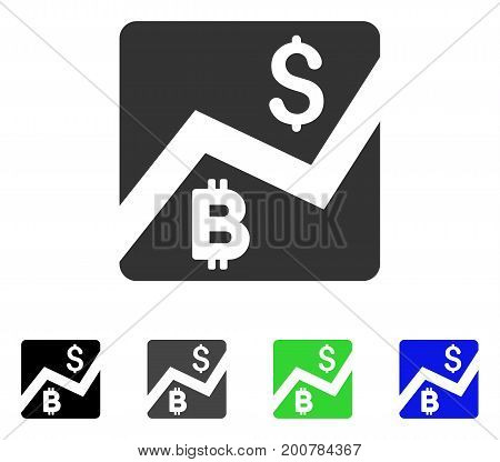 Bitcoin Forex Market flat vector pictograph. Colored bitcoin forex market, gray, black, blue, green icon versions. Flat icon style for graphic design.