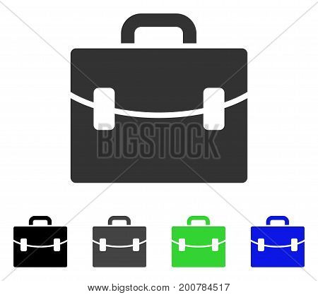 Case flat vector icon. Colored case, gray, black, blue, green icon variants. Flat icon style for web design.