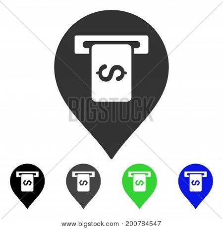 Cash Terminal Pointer flat vector icon. Colored cash terminal pointer, gray, black, blue, green icon versions. Flat icon style for graphic design.