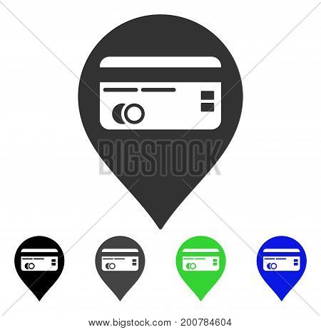 Credit Card Pointer flat vector icon. Colored credit card pointer, gray, black, blue, green icon variants. Flat icon style for graphic design.