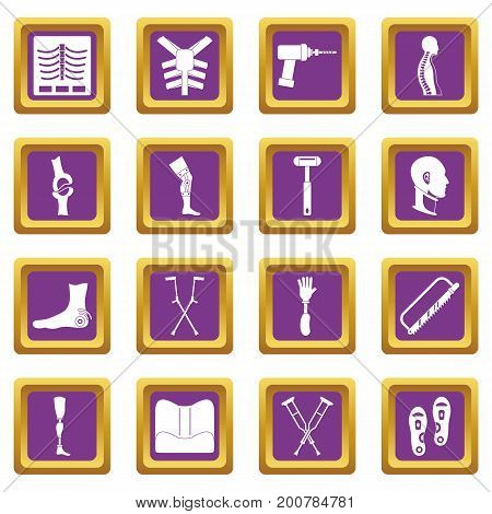 Orthopedics prosthetics icons set in purple color isolated vector illustration for web and any design