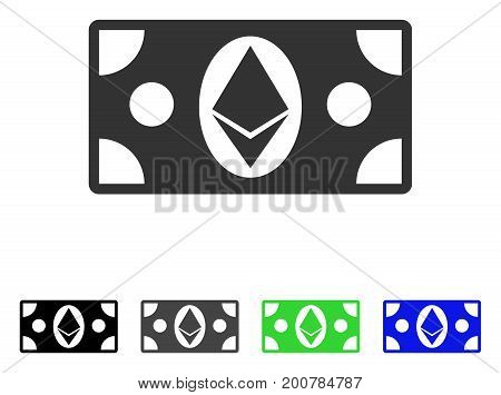 Etherium Cash Banknote flat vector icon. Colored etherium cash banknote, gray, black, blue, green pictogram variants. Flat icon style for application design.