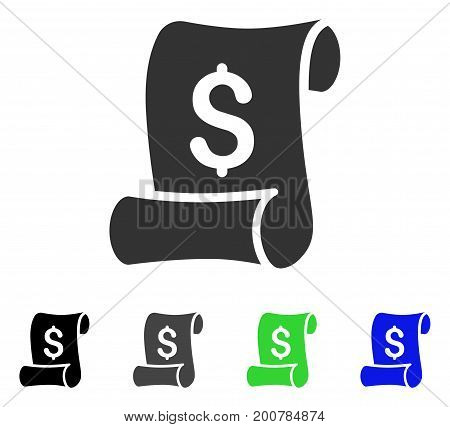 Financial Receipt Roll flat vector pictogram. Colored financial receipt roll, gray, black, blue, green icon versions. Flat icon style for graphic design.