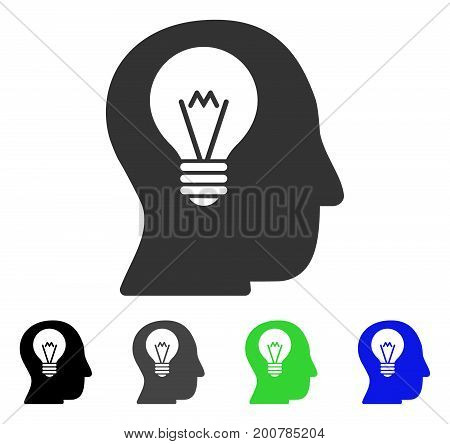 Intellect Bulb flat vector pictogram. Colored intellect bulb, gray, black, blue, green icon versions. Flat icon style for graphic design.