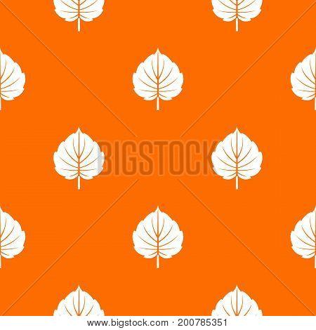 Alder leaf pattern repeat seamless in orange color for any design. Vector geometric illustration