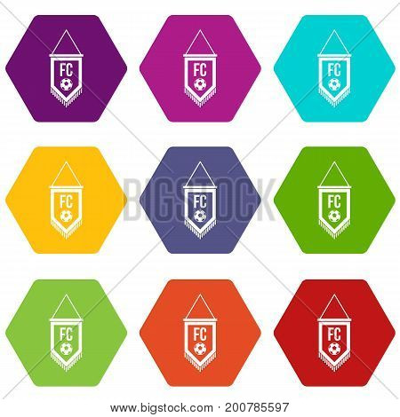 Pennant with soccer ball icon set many color hexahedron isolated on white vector illustration
