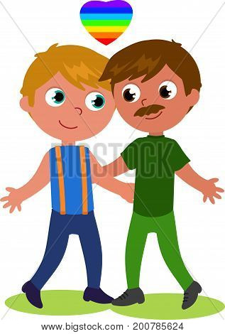 Cartoon male homosexual couple cartoon vector illustration