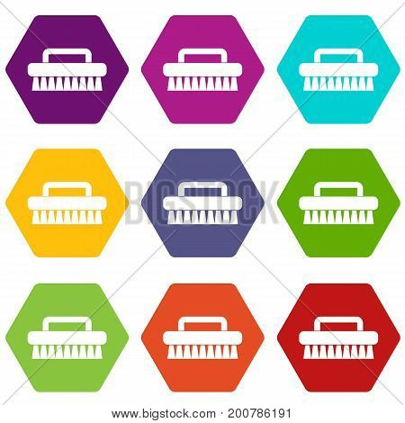 Cleaning brush icon set many color hexahedron isolated on white vector illustration