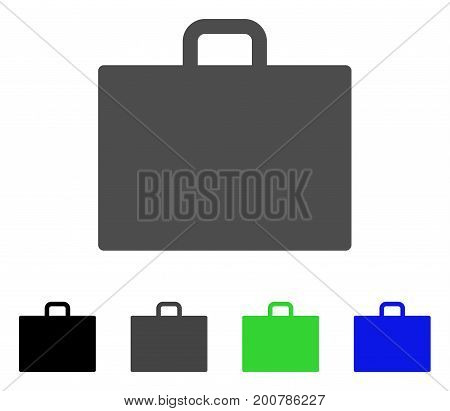 Case flat vector illustration. Colored case, gray, black, blue, green pictogram variants. Flat icon style for web design.