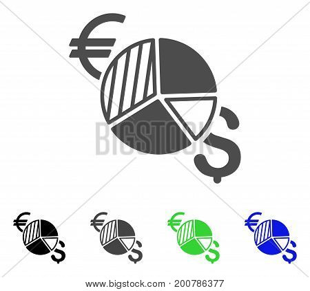 Currency Pie Chart flat vector pictograph. Colored currency pie chart, gray, black, blue, green icon variants. Flat icon style for graphic design.