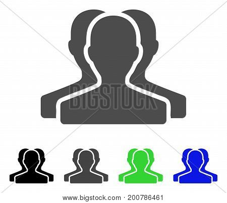 Customer Group flat vector pictogram. Colored customer group, gray, black, blue, green pictogram variants. Flat icon style for application design.