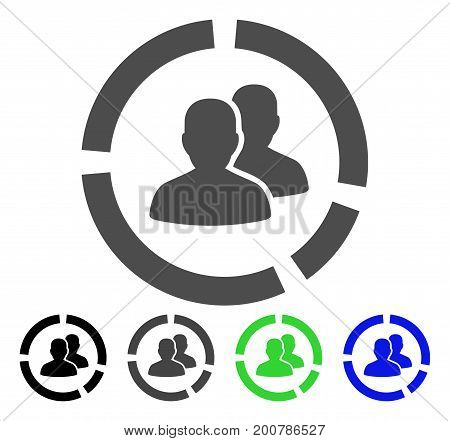 Demography Diagram flat vector icon. Colored Demography diagram, gray, black, blue, green icon versions. Flat icon style for web design.