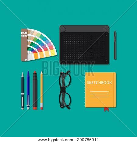 Drawing tools isolated, equipment for designer, working place of artist. Glasses, sketchbook, graphic tablet, pantone, pen pencil marker. Vector illustration in flat style