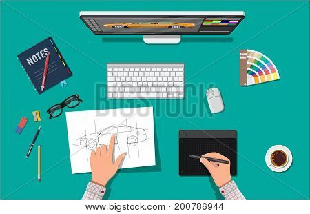 Designer workplace. Illustrator desktop with tools. Desktop pc, keyboard, mouse, glasses, notes, pen, coffee. Sketch on paper blank. Hands drawing on graphic tablet. Vector illustration in flat style