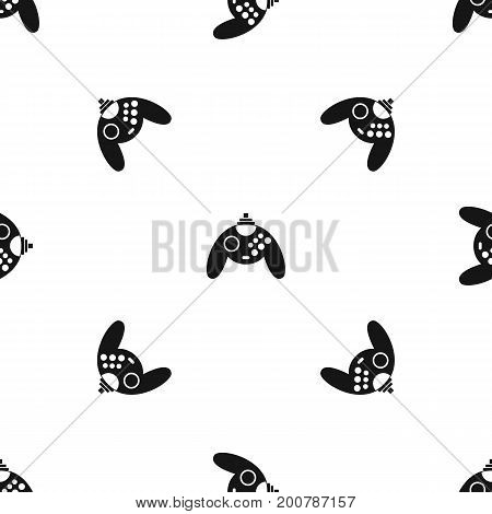 Gamepad pattern repeat seamless in black color for any design. Vector geometric illustration