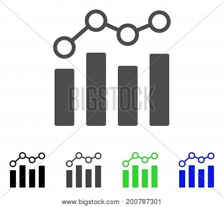 Point Chart flat vector illustration. Colored point chart, gray, black, blue, green pictogram variants. Flat icon style for application design.