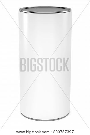 Blank cylindrical package with metal cap mock up template isolated on white background. 3d rendering