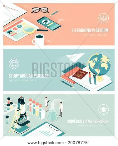 University research and studying abroad concept with isometric people and objects banners set