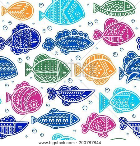 Vector seamless stylized fish pattern could be used for textile, phone case