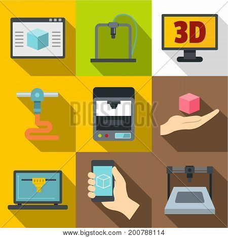 3D printer working icons set. Flat set of 9 3d printer working vector icons for web with long shadow