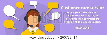 Customer care service banner horizontal concept. Flat illustration of customer care service banner horizontal vector concept for web
