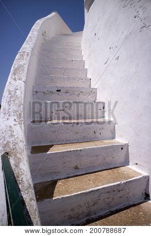 White Staircase In Masonry