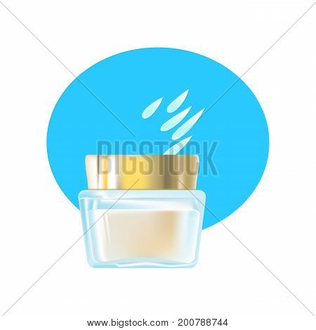 Realistic cosmetic products concept. Fragrant face cream, in a beautiful transparent glass jar, with plastic lid. Care of female beauty. Beach cosmetics. Sun protection. Vector illustration isolated.