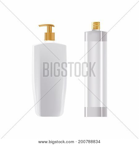 Template of cream in a bottle dispenser, spray in a beautiful bottle. Cosmetic tube mockup design. Cosmetic ads template. Vector illustration isolated on white background.