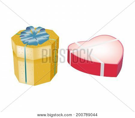 Holiday boxes, packages and bags for gifts concept. Beautiful gift boxes in form of multi-faceted yellow box with ribbon and pink boxes in form of heart, with gifts inside. Vector illustration.
