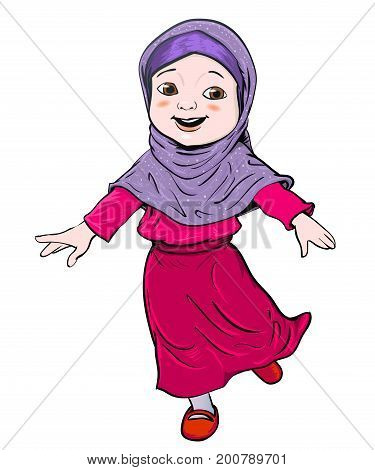 Happy Muslim girl make running. Pink dress and violet Hijab. Flat cartoon style. Vector Illustration