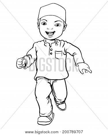Hand drawing Happy Muslim boy make running.  Flat cartoon style. Line Vector Illustration